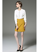 Women's Going out Cute Fall Shirt Skirt Suits,Color Block Round Neck Long Sleeve Micro-elastic