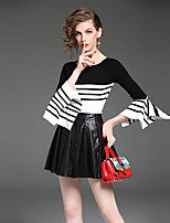 YIYEXINXIANG Women's Casual/Daily Work Simple Fall T-shirt Skirt Suits,Striped Round Neck ¾ Sleeve
