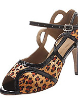 Women's Latin Satin Sandal Performance Buckle Stiletto Heel Silver Leopard 3