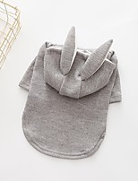 Dog Hoodie Dog Clothes Casual/Daily Solid Gray