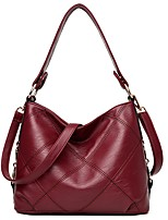 Women Bags All Seasons PU Shoulder Bag Zipper for Office & Career Black Red Gray Purple