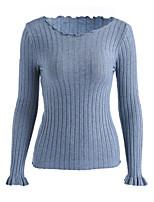 Недорогие -Для женщин На каждый день Простое Длинный Пуловер Однотонный,Круглый вырез Длинный рукав Акрил Осень Тонкая Слабоэластичная
