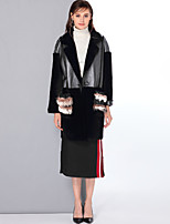 Mary Yan & Yu Women's Going out Casual/Daily Simple Vintage Cute Winter Fur Coat,Solid V Neck Long Sleeve Regular Wool