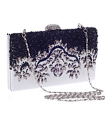 Women Bags All Seasons Polyester Evening Bag Crystal Detailing Flower(s) Pearl Detailing for Wedding Event/Party Black