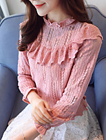 Women's Casual/Daily Work Simple Spring Fall T-shirt,Solid Stand Long Sleeves Polyester Thin