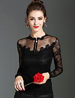 T-shirt Da donna Per eventi Per uscire Sensuale Romantico Moda città Primavera Autunno,Tinta unita Rotonda Poliestere Manica lunga Medio