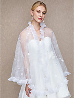 Lace Wedding Party/ Evening Women's Wrap With Lace Cascading Ruffles Shawls