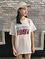 Tee-shirt Femme,Imprimé Sortie simple Manches Courtes Col Arrondi Coton