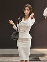 Women's Casual/Daily Simple Summer Fall Shirt Skirt Suits,Solid Shirt Collar Long Sleeve