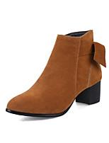 Feminino Sapatos Pele Nobuck Courino Outono Inverno Botas da Moda Curta/Ankle Botas Salto Grosso Dedo Apontado Dedo Fechado Botas Curtas