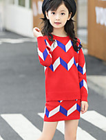 Girls' Geometic Solid Sets,Rayon Spring Fall Long Sleeve Clothing Set