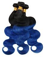 Vergini Indiano Ambra Ondulato naturale Extensions per capelli 3 pezzi Nero blu