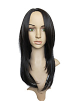 Women Synthetic Wig Capless Long Straight Black Layered Haircut Party Wig Celebrity Wig Halloween Wig Carnival Wig Cosplay Wig Costume Wig