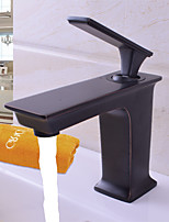 Modern Deck Mounted Rainfall with  Ceramic Valve Single Handle One Hole for  Black , Bathroom Sink Faucet