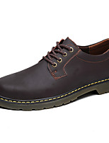 Masculino sapatos Pele Napa Primavera Outono Conforto Oxfords Cadarço Para Casual Marron Cinzento Escuro Castanho Escuro