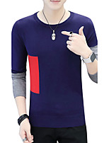 Men's Casual/Daily Work Simple Boho Street chic Regular Pullover,Solid Print Color Block Round Neck Long Sleeves Cotton Fall Medium