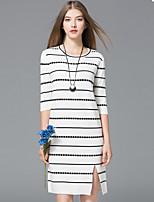 Damen A-Linie Hülle Kleid-Ausgehen Lässig/Alltäglich Einfach Anspruchsvoll Gestreift Rundhalsausschnitt Knielang Halbe Ärmel Polyester