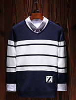 Men's Going out Casual/Daily Simple Boho Street chic Regular Pullover,Solid Striped Print Round Neck Long Sleeves Cotton Polyester Fall
