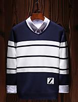 Standard Pullover Da uomo-Per uscire Casual Semplice Boho Moda città Tinta unita A strisce Con stampe Rotonda Manica lunga Cotone