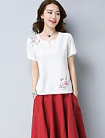 T-shirt Da donna Casual Stoffe orientali Ricamato A cuore Cotone Manica corta