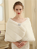 Women's Wrap Capelets Faux Fur Wedding Party/ Evening Buttons