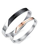 Men's Women's Bangles AAA Cubic Zirconia Fashion Elegant Cubic Zirconia Titanium Steel Circle Jewelry For Wedding Evening Party