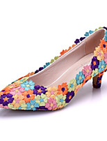 Women's Shoes PU Spring Fall Comfort Novelty Wedding Shoes Low Heel Pointed Toe Applique Flower For Wedding Party & Evening Purple