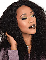 Women Human Hair Lace Wig Peruvian Human Hair 360 Frontal 130% Density With Baby Hair With Ponytail Curly Wig Black Long For Black Women