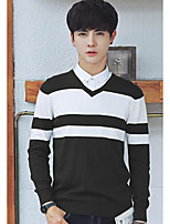 Men's Casual/Daily Regular Pullover,Color Block V Neck Long Sleeves Others Spring Winter Medium Micro-elastic