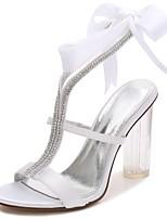 Women's Wedding Shoes Basic Pump T-Strap Ankle Strap Transparent Shoes Spring Summer Satin Wedding Party & Evening Dress Rhinestone