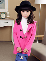 Girls' Solid Trench Coat,Polyester Fall Winter Long Sleeve