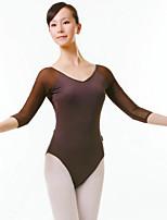 Balé Mulheres Apresentação Fibra Sintética 1 Peça Meia manga Natural Malha Collant