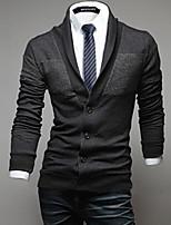 Men's Casual/Daily Regular Cardigan,Solid V Neck Long Sleeves Cotton Fall Winter Medium Micro-elastic