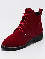 Women's Shoes Fleece Winter Fashion Boots Boots Chunky Heel Round Toe Booties/Ankle Boots Lace-up For Casual Dress Red Beige Black