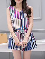 Women's Casual/Daily Simple Summer T-shirt Pant Suits,Striped Round Neck Sleeveless