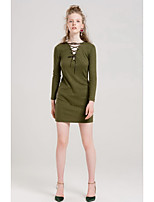Women's Going out Cute Sheath Dress,Solid V Neck Above Knee Long Sleeves Cotton Fall Mid Rise Micro-elastic Medium