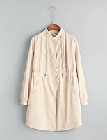Women's Going out Casual/Daily Simple Spring Fall Trench Coat,Solid Stand Long Sleeve Regular Cotton Others