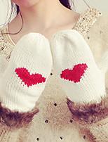 Women's Rabbit Fur Acrylic Knit Wrist Length FingertipsCasual Winter Gloves Keep Warm Fashion Knitwear Jacquard Winter