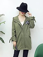 Women's Going out Casual/Daily Simple Spring Fall Trench Coat,Solid Print Hooded Long Sleeve Regular Cotton Others