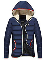 Men's Long Padded Coat,Simple Street chic Active Going out Casual/Daily Solid Striped Color Block-Cotton Polyester Cotton Long Sleeves