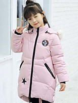 Girls' Solid Patchwork Down & Cotton Padded,Cotton Polyester Winter Long Sleeve