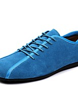 Men's Shoes Suede Fall Winter Comfort Sneakers Walking Shoes Lace-up For Casual Outdoor Blue Dark Blue Black