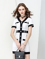 NO PEI SHU Women's Going out Work Simple Street chic Sophisticated Shift Dress,Color Block V Neck Above Knee Short Sleeves Cotton Summer Fall Mid