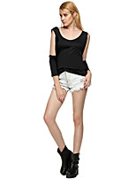 Women's Going out Casual/Daily Simple Street chic Fall T-shirt,Solid U Neck Long Sleeves Polyester