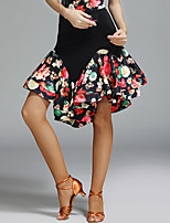 Latin Dance Tutus & Skirts Women's Performance Spandex Ice Silk Pattern/Print Natural Skirts