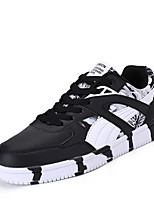 Men's Shoes PU Spring Fall Comfort Sneakers Lace-up For Casual Outdoor Black/Red Blue Black