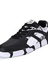 Homme Chaussures Polyuréthane Printemps Automne Confort Basket Lacet Pour Décontracté Noir Bleu Noir/Rouge