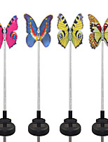 4PCS Solar Fiber Optic White/Color-Changing Butterfly Garden Stake Light Pathway Walkway Lamp