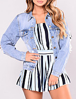 Women's Going out Casual/Daily Vintage Street chic Spring Fall Denim JacketSolid Shirt Collar Long Sleeve Short Polyester