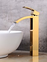 Centerset Waterfall with  Ceramic Valve Single Handle One Hole for  Ti-PVD , Bathroom Sink Faucet